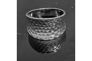 9ct White Gold Hammered Finish Ring