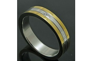 Stainless Steel Ring, Grooved, With 18ct Gold-Plated Edges, Set With One Small Cz Simulated Diamond
