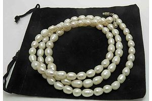 Very Long Strand Of Freshwater Cultured Pearls, 6-9mm