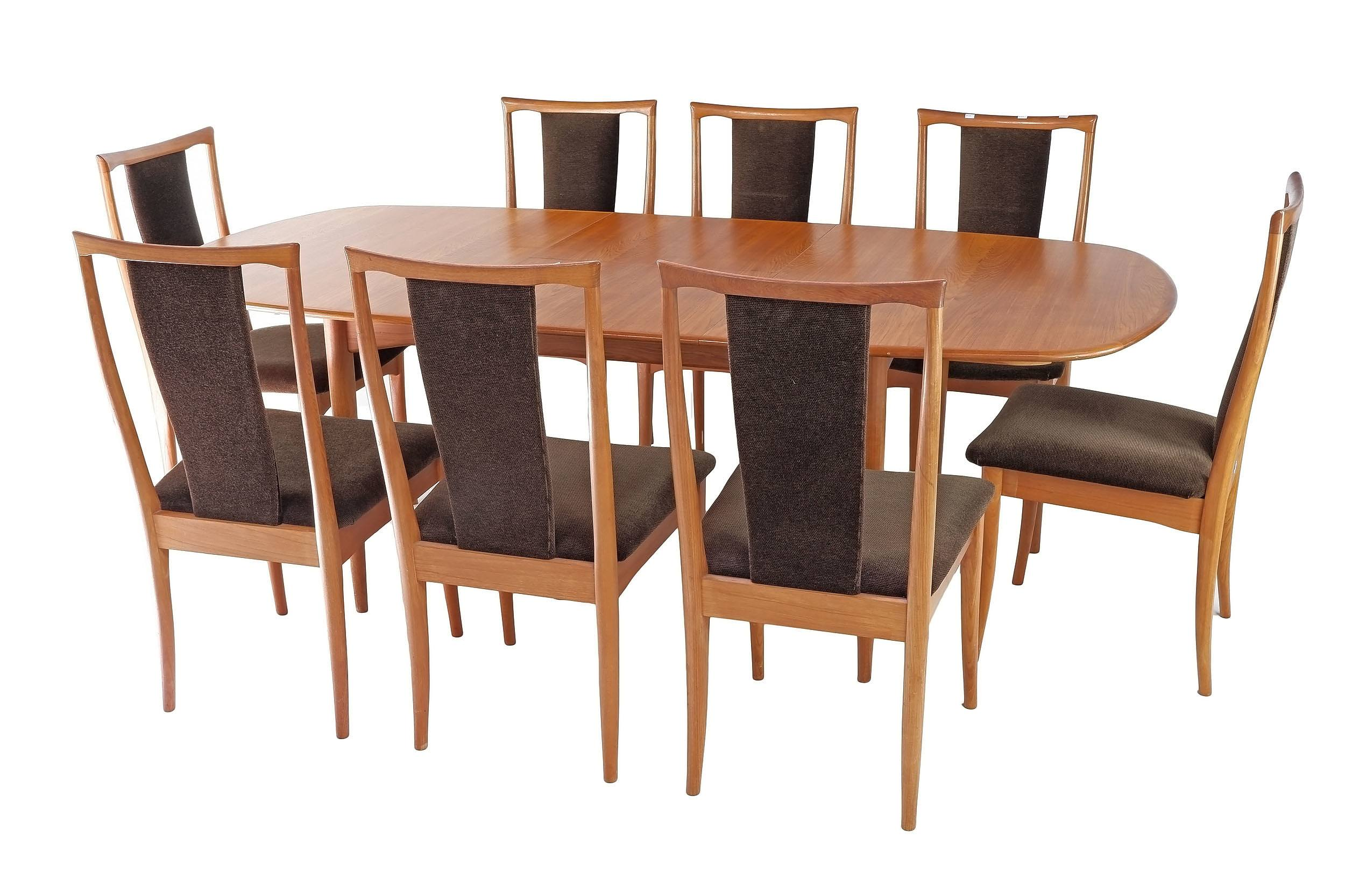 'Retro Parker Extension Dinning Table with Cigar Legs and Eight Brown Velour Upholstered Chairs'