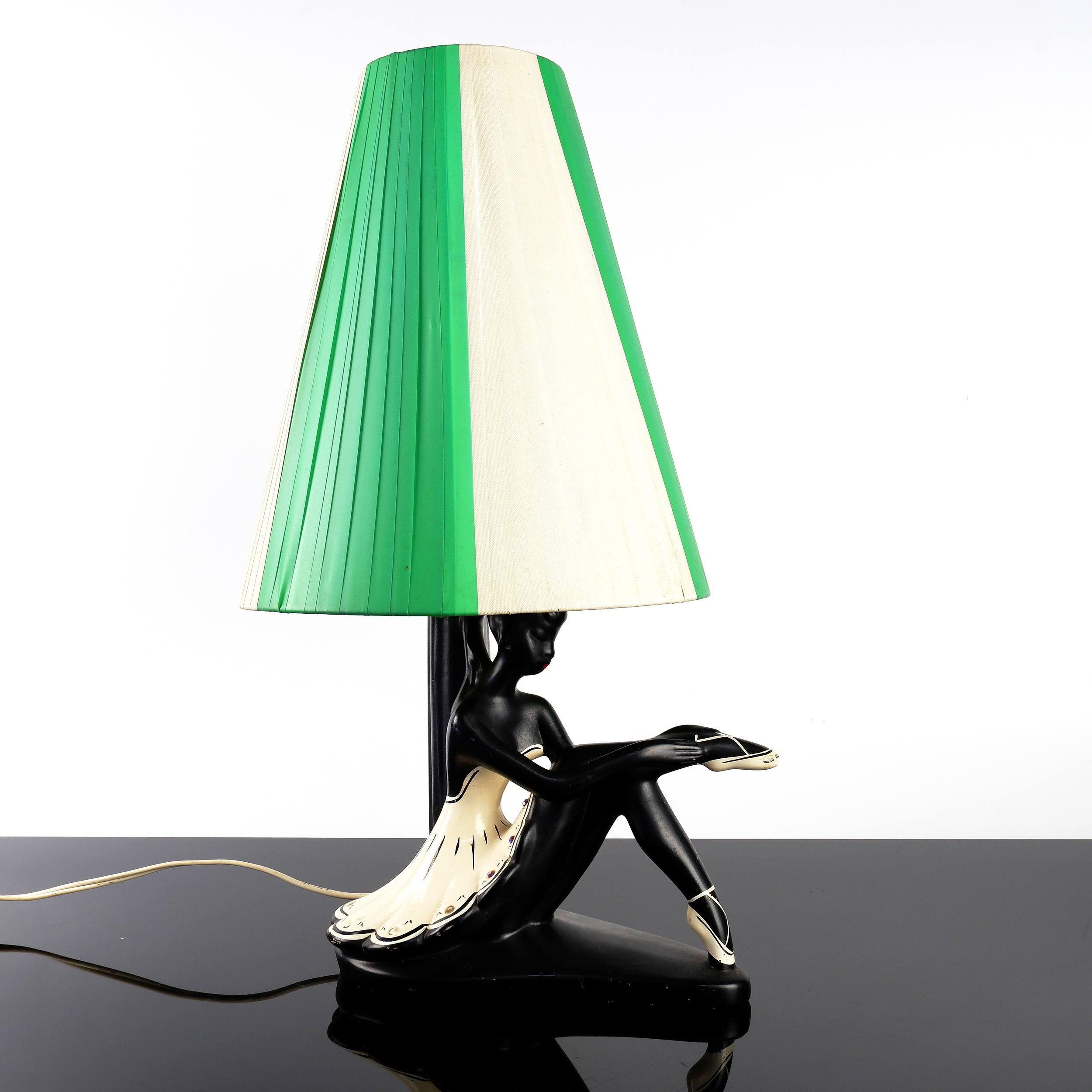 'Barsony Seated Ballerina Table Lamp with Ribbon Shade, FL-36'