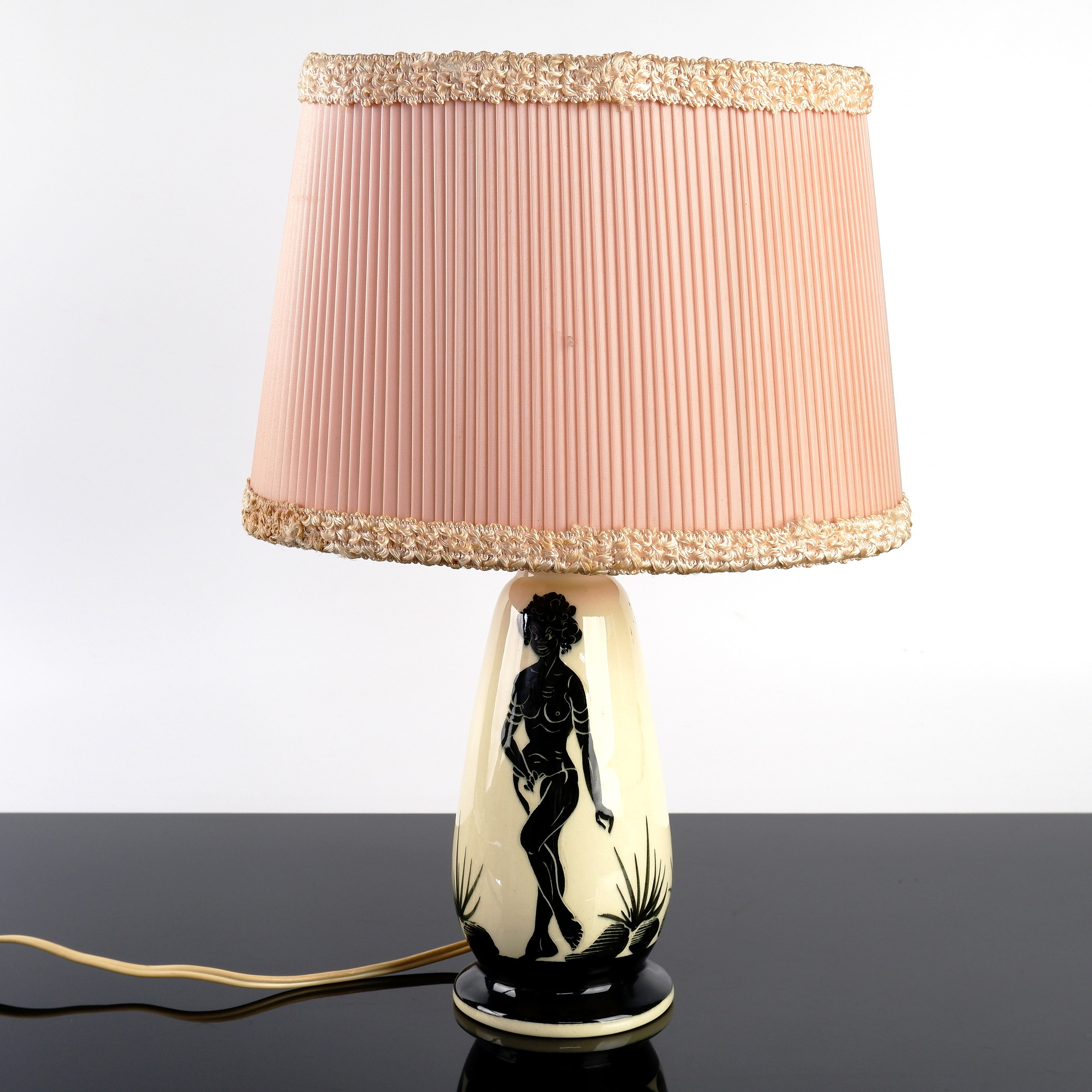 'Vintage Australian Jedda Pottery Table Lamp with Black Lady Motif and Shade'