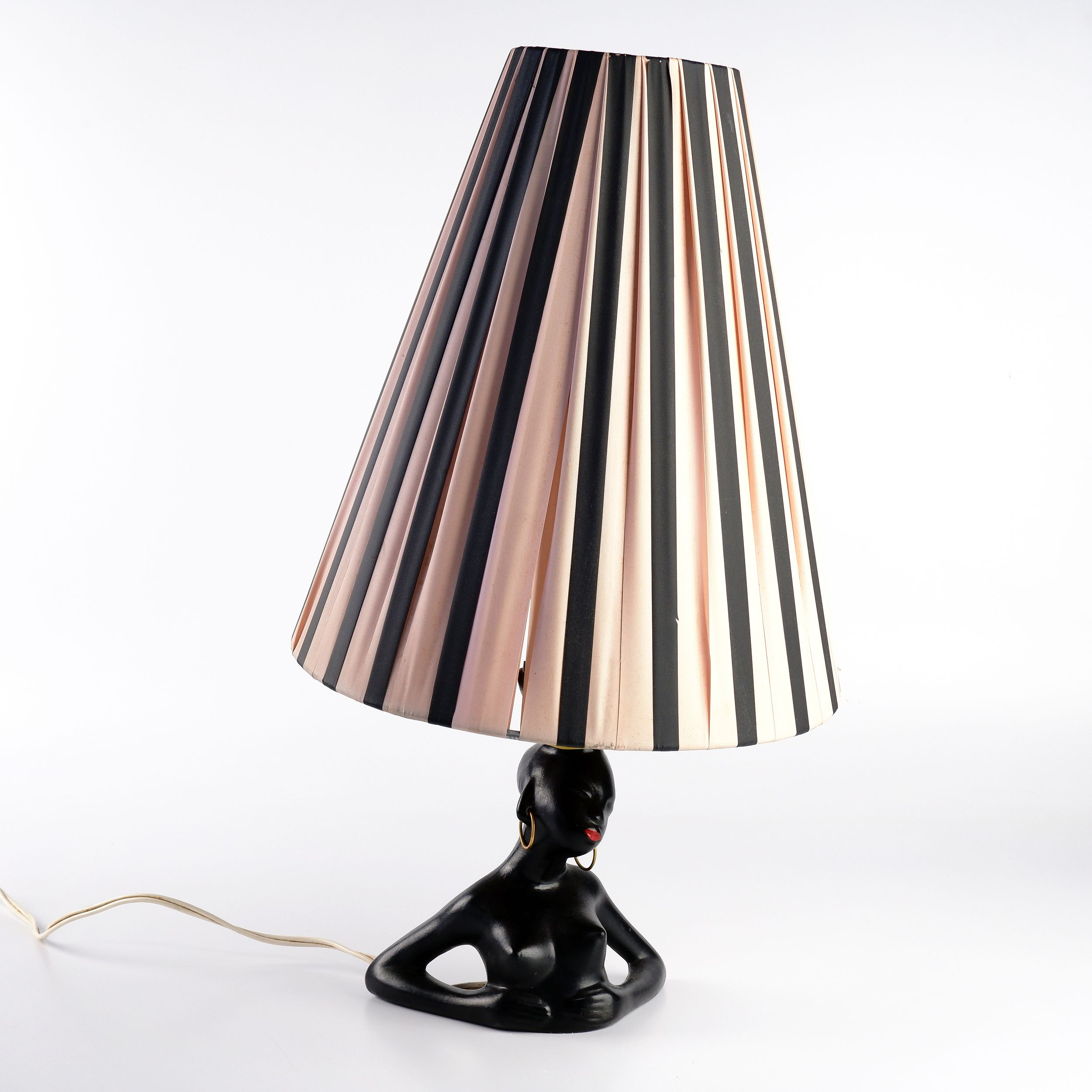 'Barsony Figural Table Lamp with Hoop Earrings and Ribbon Shade'