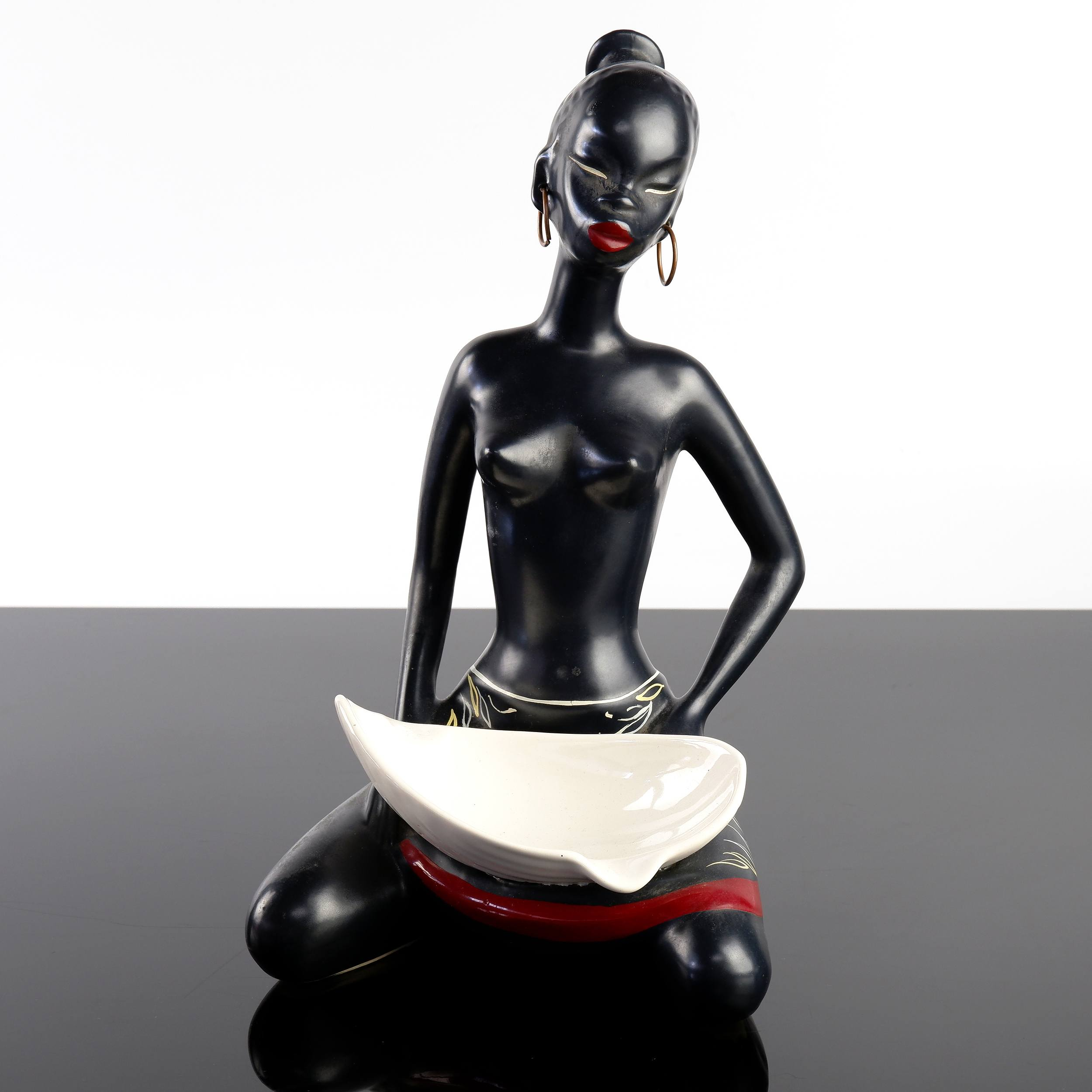 'Barsony Seated Lady with Hoop Earrings Ceramic Ashtray, H-32'