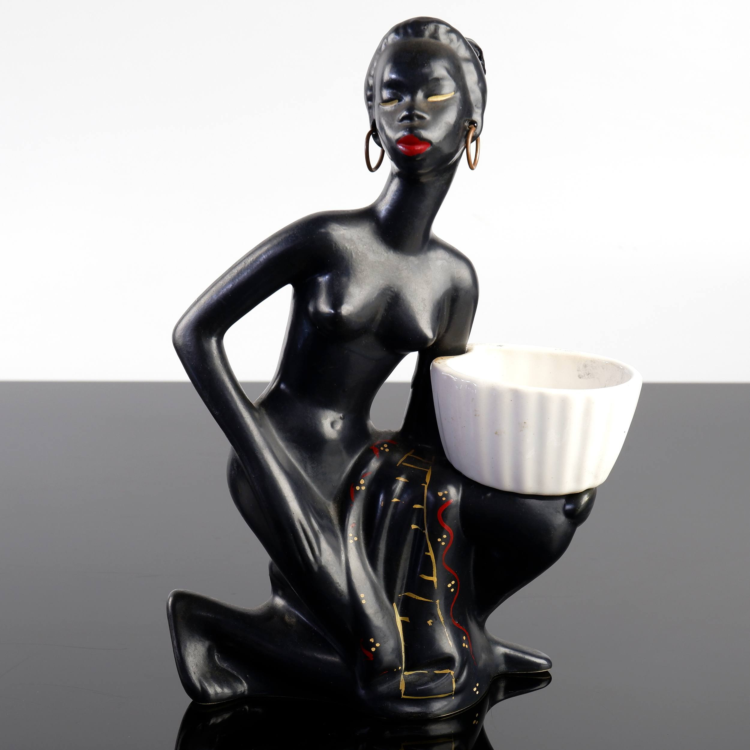 'Barsony Ceramic  Kneeling Lady with Hoop Earrings and Bowl, H-27'