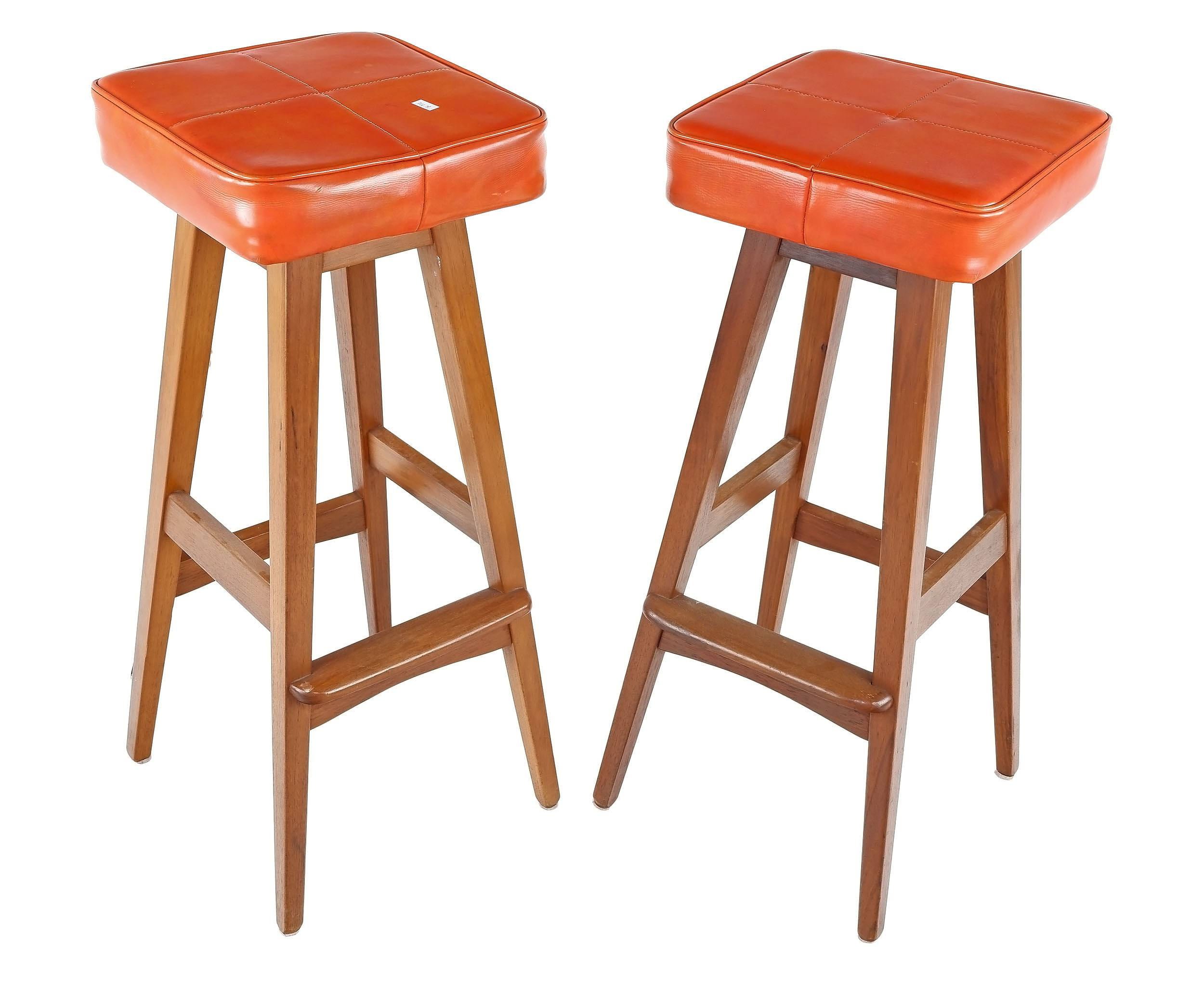 'Pair of Retro Macrob Teak and Vinyl Upholstered Bar Stools'