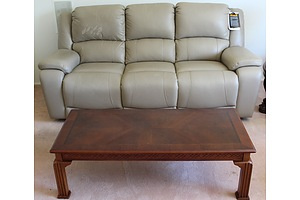 Acme Contemporary Three Piece Cream Leather Electric Recliner Lounge Suit and Coffee Table