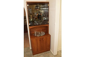 Two Wall Units With Drinkware and Liqueurs