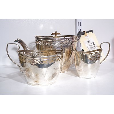 Antique Silver Plated Three Piece Tea Service with Ornate Pierced Gallery - with Inscription Dated 1914