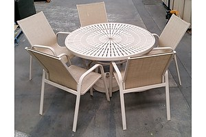 8 Piece Metal Top Round Dining Setting