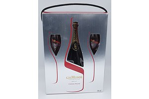 G. H. Mumm Cordon Rouge Brut Champagne in Presentation Box with Two Glasses