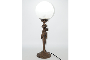 Contemporary Art Deco Style Bronzed Cast Metal Figural Table Lamp