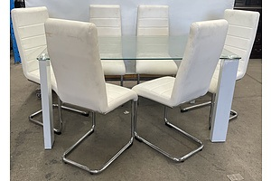Contemporary Glass Topped Dining Suite With White Leather Chairs