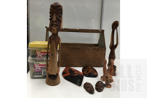 Lot Of- Mixed, Window Packers, Wooden Statues and Masks With Storage Box