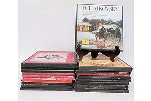 Quantity of Approximately 20 Box Set Vinyl LP Records Including Bach, Schuman and Brahms and More
