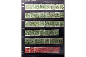 Two Sheets of Australian One Penny King George V Stamps