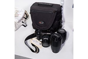 Olympus E300 Digital Camera with 14-45mm lens, Olympus Zuiko Digital 40-150mm and 70-300 Lens in Camera Bag with Accessories
