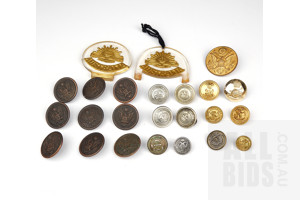 Assorted Vintage Military Buttons and other Collectibles