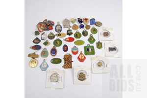 Assorted Collectible Vintage Badges, Tags and Pins including 1954 Royal Visit, Scouts and Girl Guides