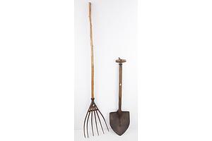 Antique Hayfork and Miner's Shovel