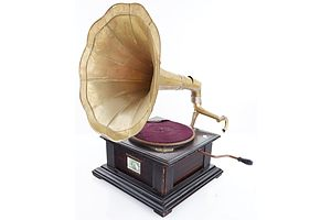Vintage His Master's Voice Gramophone with Horn