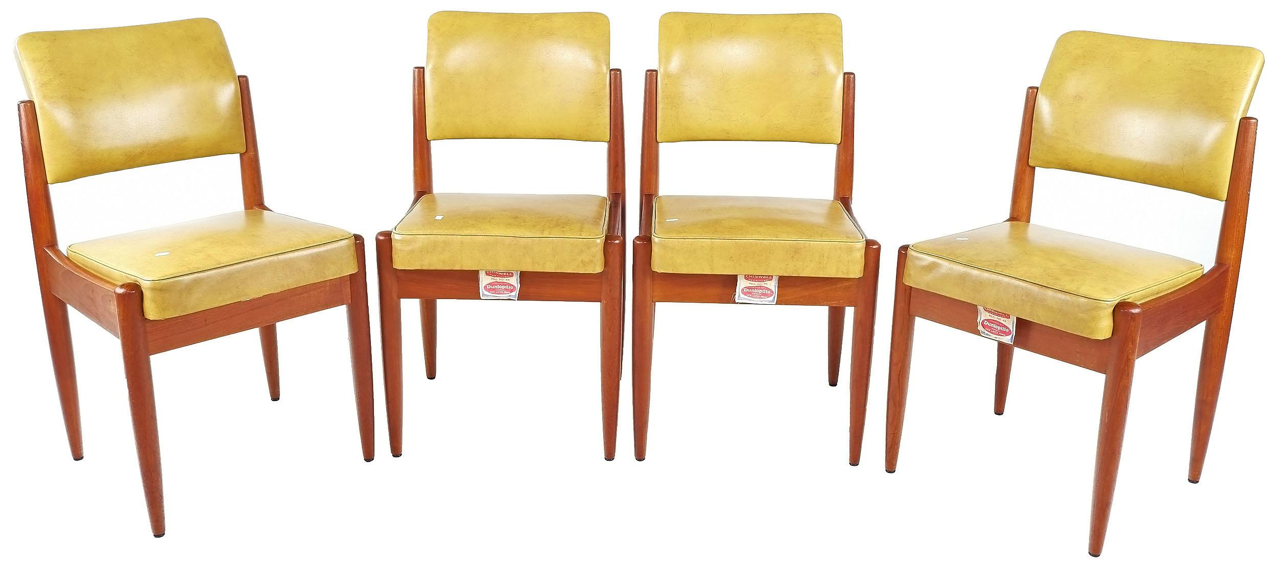 'Set of Four Chiswell Teak and Vinyl Upholstered Dining Chairs, Circa 1960s'