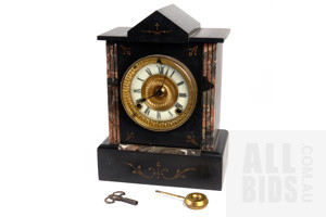 Antique Victorian English Slate and Marble Porcelain Faced Mantle Clock made by The Clock Co York, with Key