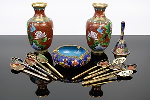Assorted Cloisonne Pieces including Two Vases