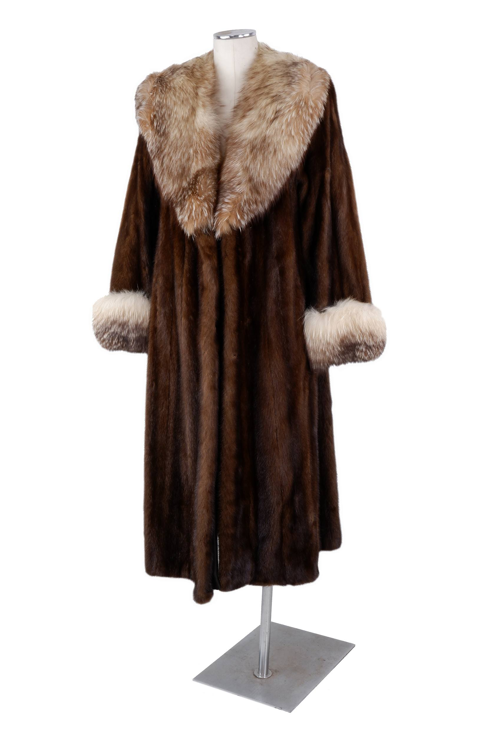 'Vintage Christian Dior Full Length Mink Coat with Snow Fox Collar and Cuffs'