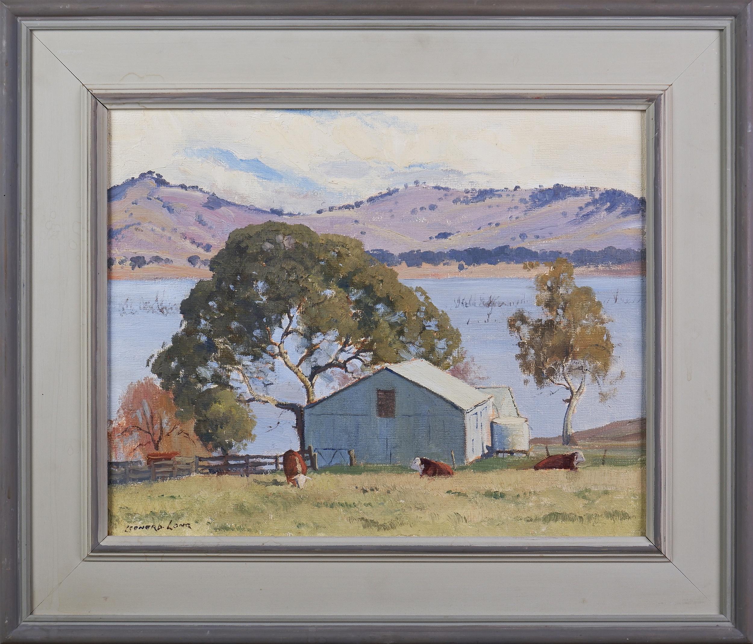 'Leonard Long (1911-2013), The Bull Paddock, Bethanga, Oil on Artists Board, 29 x 37 cm'