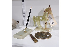 Vintage Alabaster Parker Pen Holder, Carved Horse Figurine, US Air Force Brass Paperweight, Brass and Wooden Pocket Knife