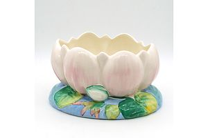 Clarice Cliff Lotus Bowl, Moulded Ceramic, For Newport Pottery England