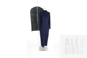 Vintage Classic Carla Zampatti Navy Jersey Maxi Dress With Perri Cutten slip bag
