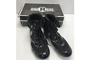 Ringside Black/Silver High Top Boxing Shoes -Size 9
