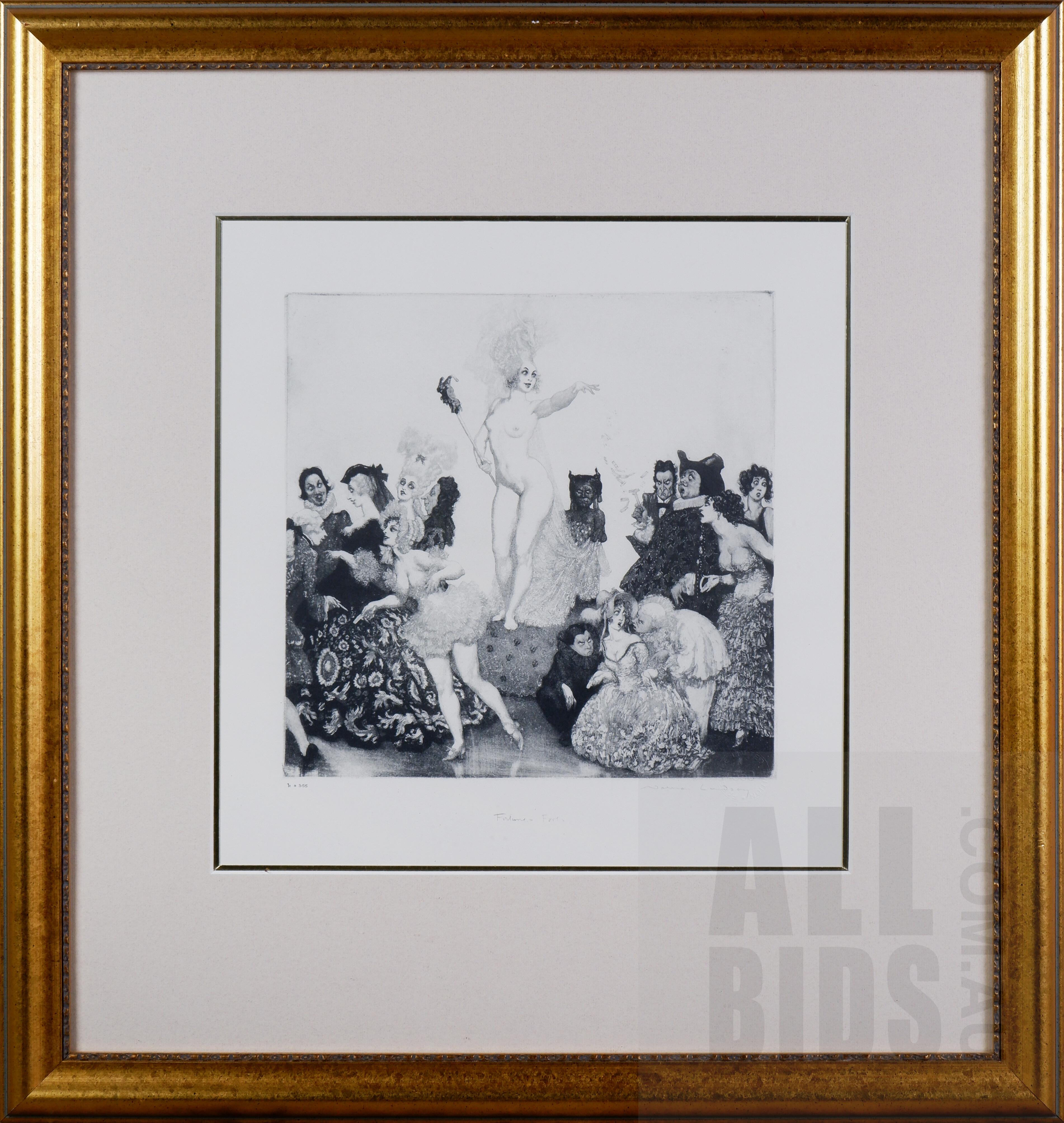 'Norman Lindsay (1879-1969), Fortunes Fools, Facsimile Etching, 25 x 25 cm'