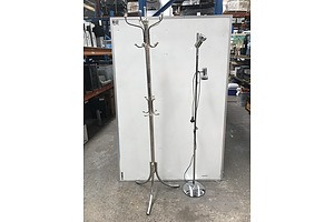 Stainless Steel Coat/Hat Rack and Floor Lamp
