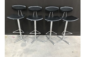 Danish Black Leather Designer Bar Stools