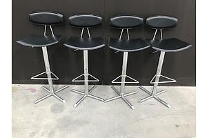 Danish Black Leather Designer Bar Stools