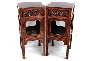 Pair 19th Century Chinese Stands with Carved Peony Rose Decoration To Drawer Fronts and Lacquer Remnants