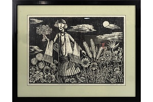 Deborah Klein (1951-) Zelda Fitzgerald In The Night Garden, Woodcut Edition 7/25
