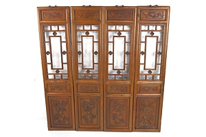 Four Chinese Scholar Window Panels with Pierced and Carved Four Seasons