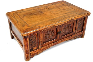 19th Century Chinese Kang Table with Carved Longevity Symbols To Doors