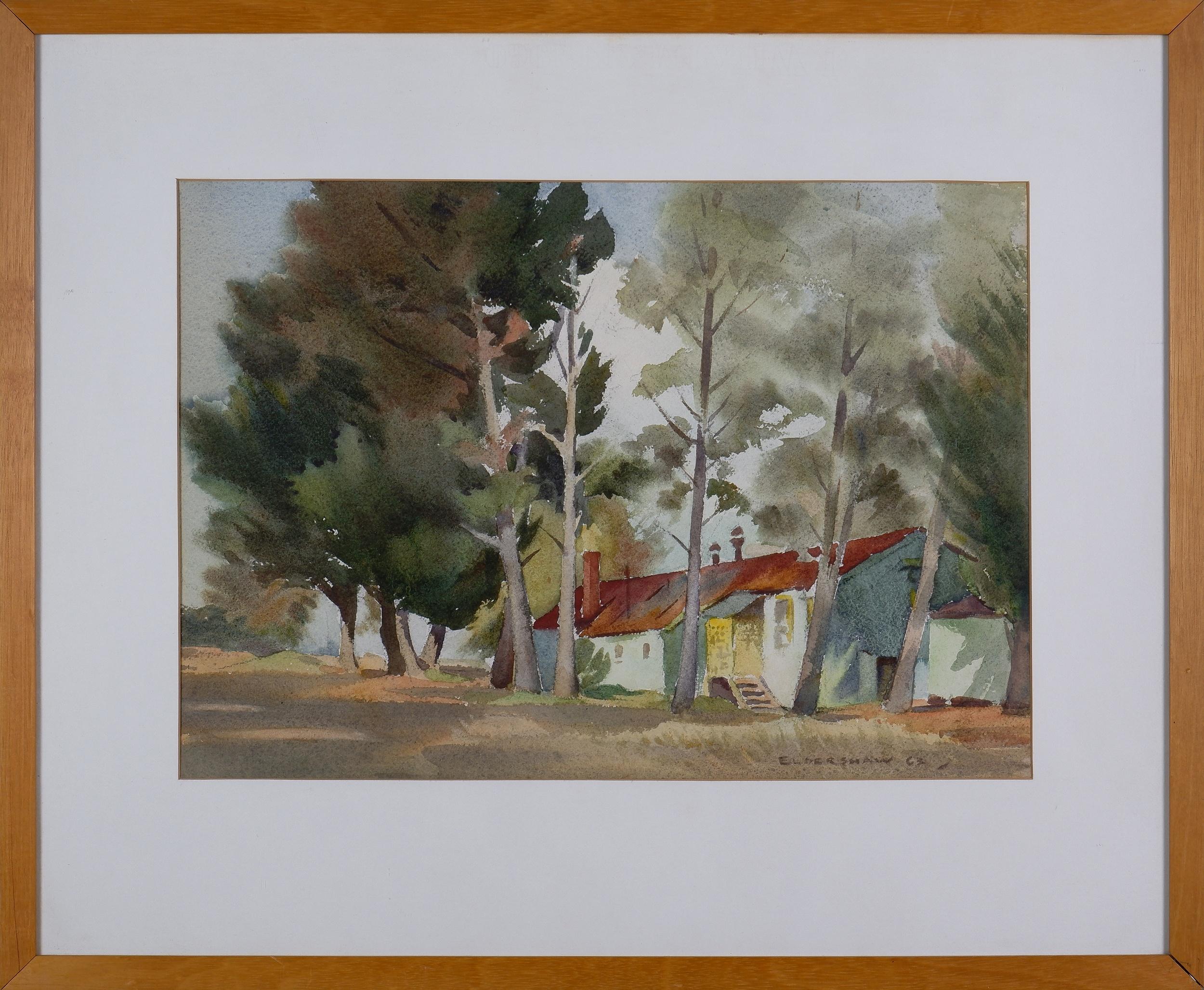 'John Eldershaw (1892-1973), Trades Hall, Acton 1963, Watercolour'