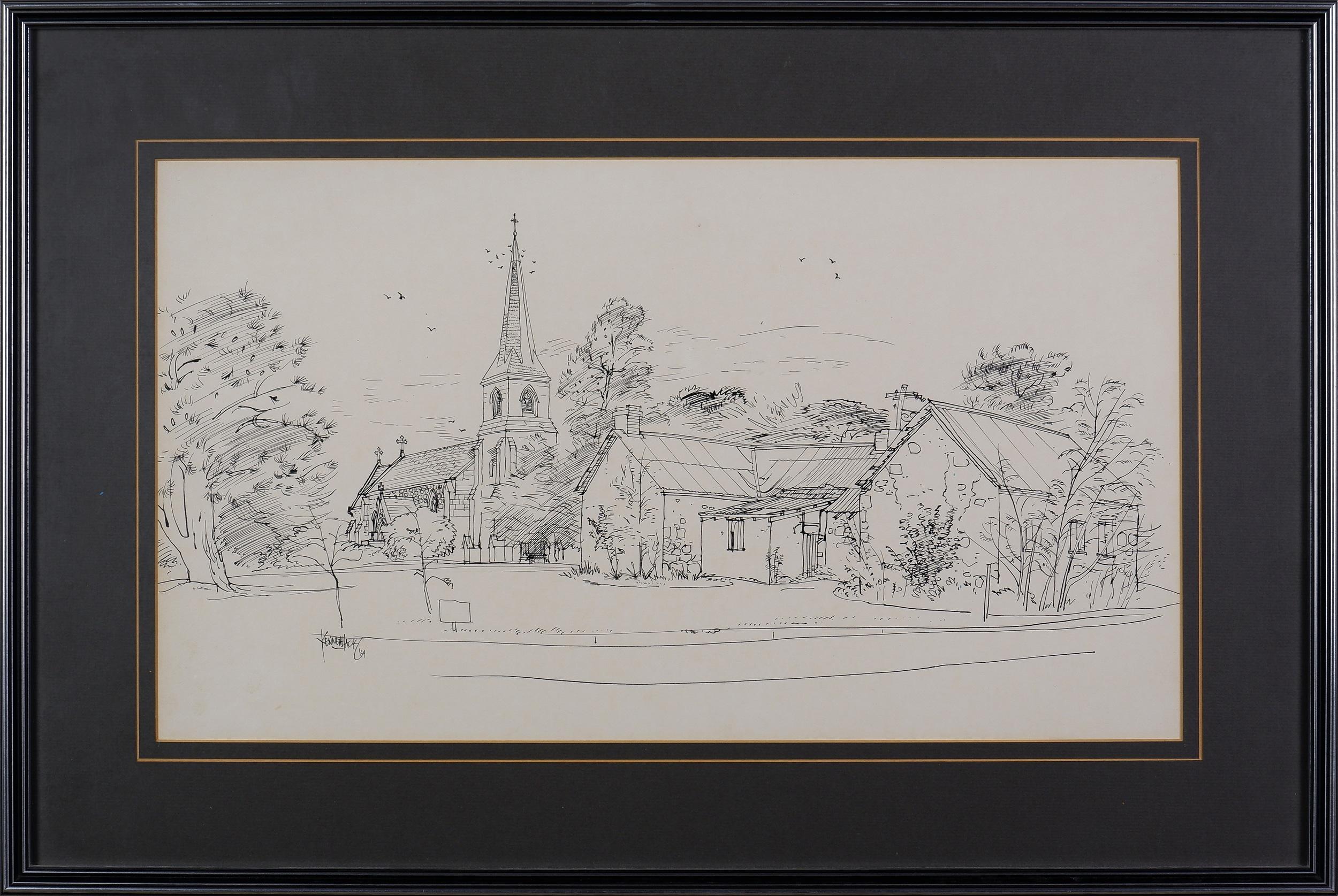 'Kenneth Jack (1924-2006), St Johns Church, Reid 1964, Felt-Tipped Pen on Paper'