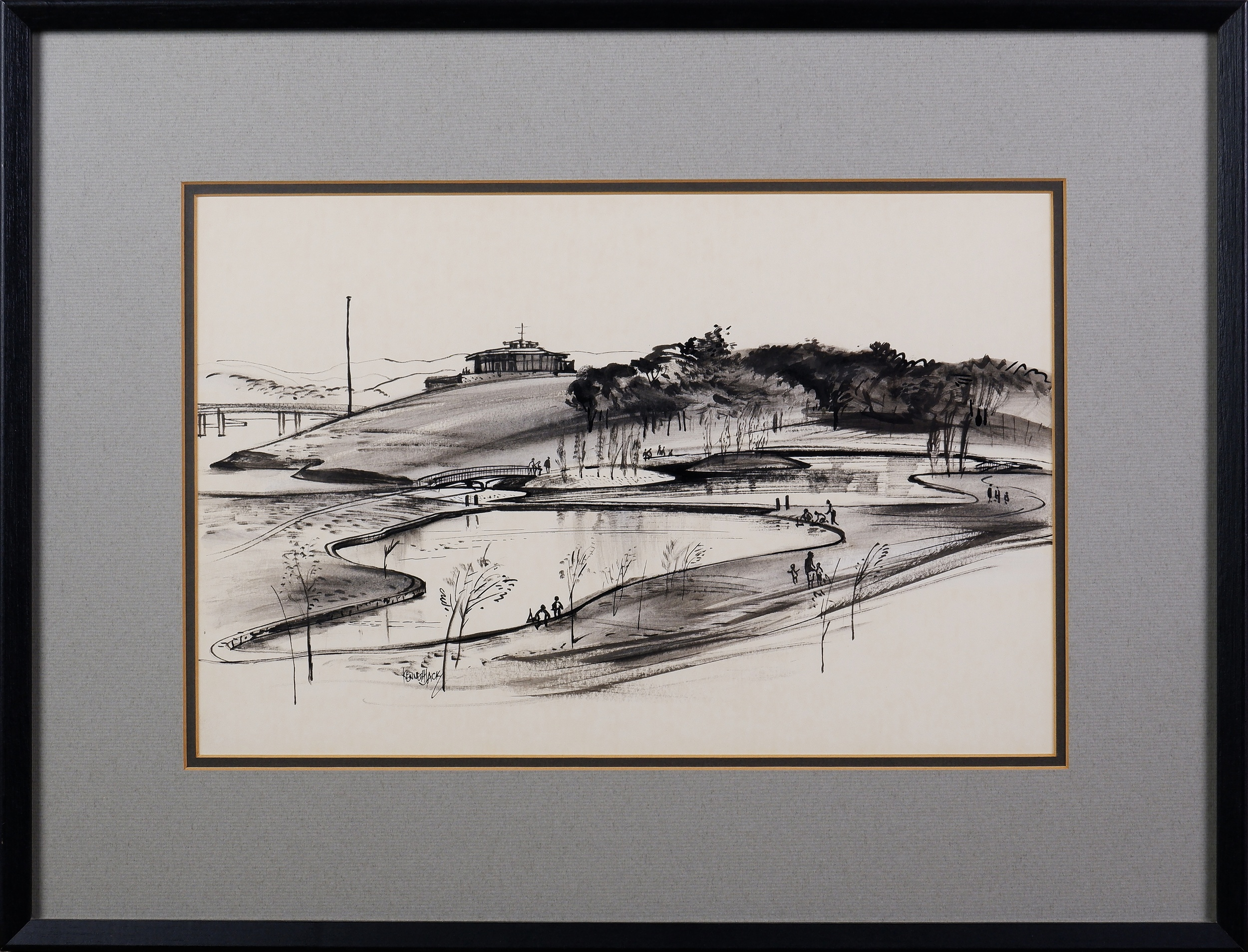 'Kenneth Jack (1924-2006), Regatta Point, Canberra, Pen and Ink on Paper '