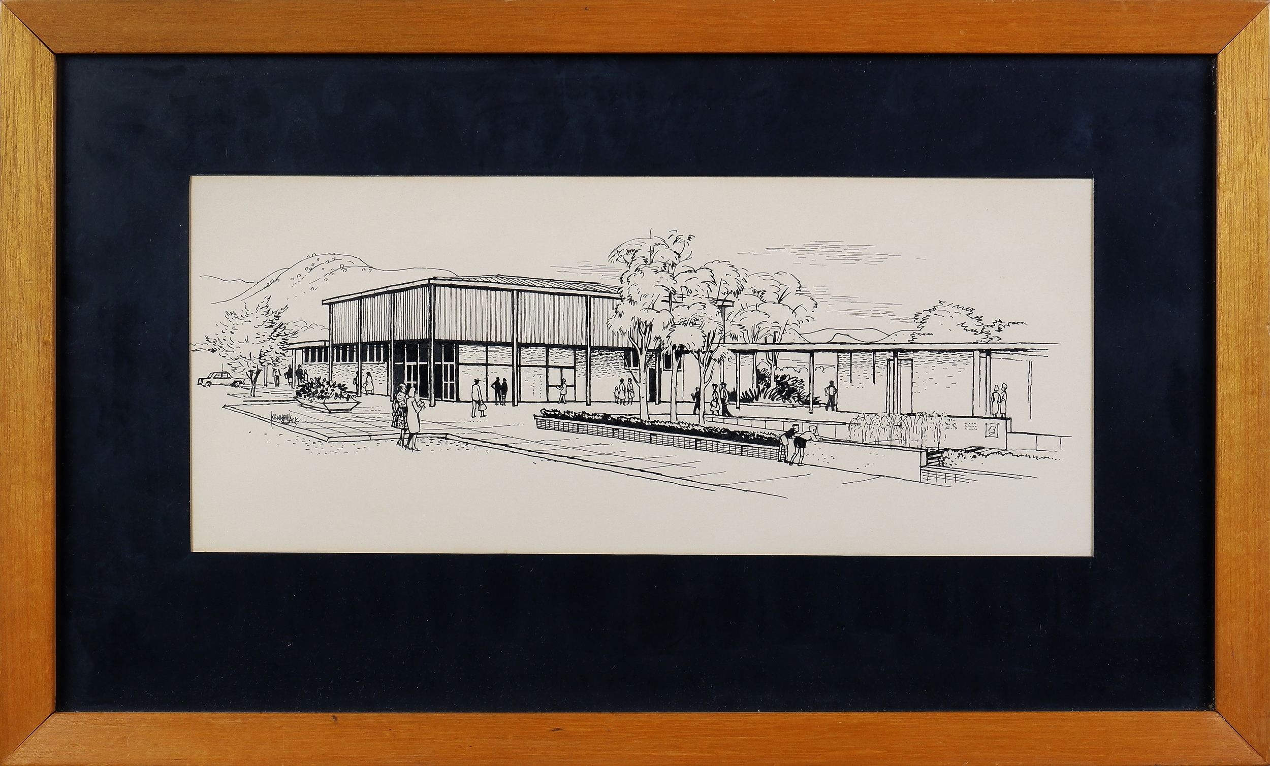 'Kenneth Jack (1924-2006), Civic Square, Canberra, Pen and Ink on Paper'