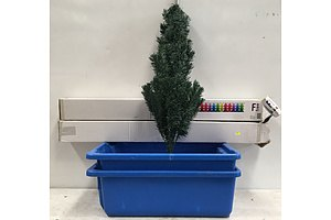 Plastic Tubs And Christmas Trees - Lot Of 4