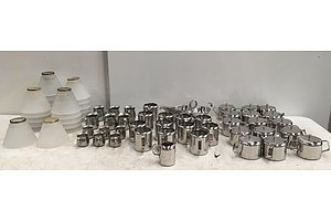 Large Lot Of Assorted Stainless Steel Tableware & Glass Lamp Shades