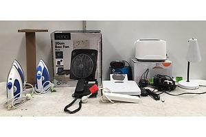Mixed Homewares Including Steam Irons, Box Fan, Toaster And Lamp