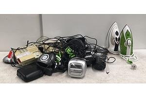 Mixed Homewares Including Steam Irons, Digital Alarm Clocks